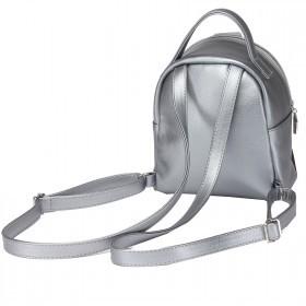 Сумка женская искусственная кожа GR-1612    (рюкзак-мини) ,    1отд,    2внут+1внеш карм,    тем.серебро