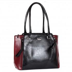 Сумка женская искусственная кожа ZEL-9127,    1отд+карм/пер,       (сломанана молния УЦЕНКА)    черный/бордо
