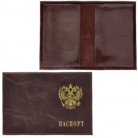 Обложка для паспорта Premier-О-82    (с гербом)    натуральная кожа коричневый тем пулл-ап   (152)