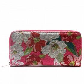 Кошелек женский искусственная кожа 7811-1,    на 1 молнию,    6отд,    8карм,      (цветы) ,    розовый
