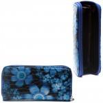 Кошелек женский искусственная кожа 7811,    на 1 молнию,    6отд,    8карм,      (цветы) ,    синий