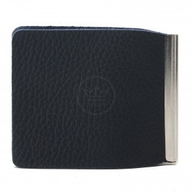 Зажим для купюр Premier-Z-1    (зажим-скрепка)    натуральная кожа синий тем флотер   (351)