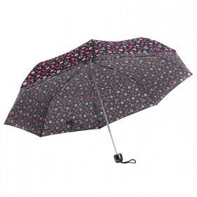 Зонт женский RST-308,    R=53см,    механика;    8спиц-сталь;    3слож;    полиэстер,    черный/розовый