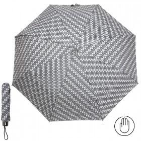 Зонт женский RST-308,    R=53см,    механика;    8спиц-сталь;    3слож;    полиэстер,   серый/белый