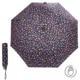 Зонт женский RST-308,    R=53см,    механика;    8спиц-сталь;    3слож;    полиэстер,    черный/радуга