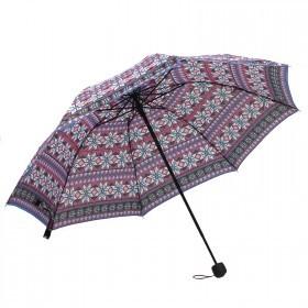 Зонт женский RST-3010,    R=55см,    механика;    8спиц-сталь;    3слож;    полиэстер,    роз/черн/белый