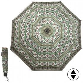 Зонт женский RST-3010,    R=55см,    механика;    8спиц-сталь;    3слож;    полиэстер,    зел/черн/белый