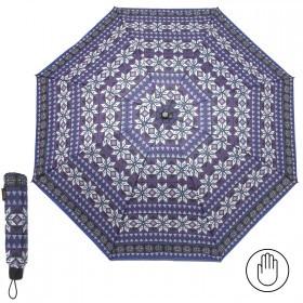 Зонт женский RST-3010,    R=55см,    механика;    8спиц-сталь;    3слож;    полиэстер,    фиолет/син/белый