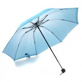 Зонт женский RST-381,    R=53см,    механика;    8 спиц-сталь;    3слож;    полиэстер,    голубой