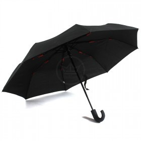 Зонт муж RST-3025,    R=54см,    суперавт;    8 спиц-сталь+fiber,    3слож,    полиэстер черный