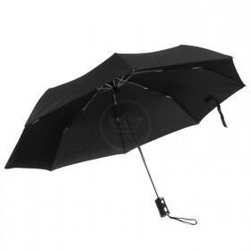 Зонт муж RST-3605,    R=57см,    суперавт;    8 спиц-сталь+fiber,    3слож,    полиэстер черный