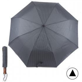 Зонт муж RST-3604,    R=55см,    полуавт;    8 спиц-сталь+fiber,    3слож,    полиэстер,    серый