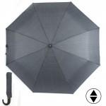 Зонт муж RST-3287,    R=58см,    суперавт;    8 спиц-сталь+fiber,    3слож,    полиэстер серый
