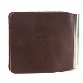 Зажим для купюр Premier-Z-1    (зажим-скрепка)    натуральная кожа коричневый друид   (8)
